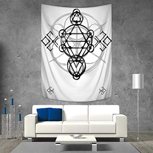 Anhuthree Sacred Geometry Tapestry Wall Hanging 3D Printing Simplistic Seed Life Symbol Vortex Motion Spheres Print Beach Throw Blanket 40W x 60L INCH Black Silver White