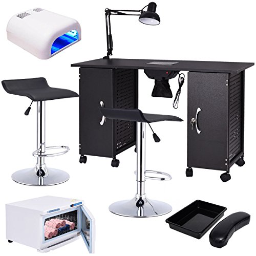 md- group Manicure Nail Table Station Rack Chairs Towel Warmer Nail Dryer Salon Equipment by Manicure Nail Table