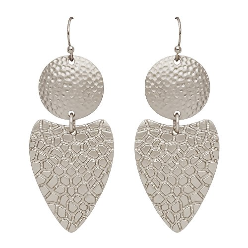 Seraphina New York Patterned Circle & Triangle Disk Link Fish Hook Women's Earrings (Silver) ()