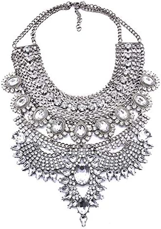 NABROJ Fashion Necklace Crystal Costume