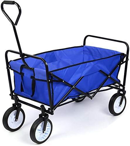 ガーデンカートトロリー折り畳み式プルワゴン折りたたみトロリーキャンプトロリー車輪の上のヘビーデューティワゴンハンドカートフェスティバルトロリー屋外80キロ(レッド) zhaoyun (Color : Blue)
