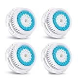 Compatible Facial Brush Heads - 4-Pack Deep Pore Facial Brush Head Replacement for Facial Cleanser - Perfect for Acne & Blackhead Removal- Compatible with Mia, Mia2, Mia3 (Aria), Mia Fit, Alpha Fit, Smart Profile, PLUS, PRO