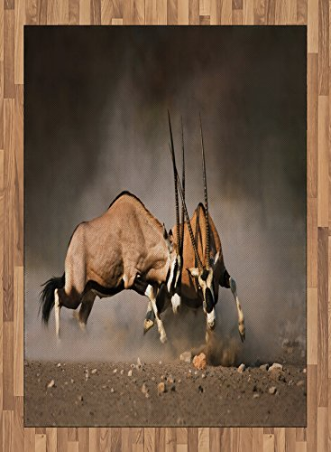 Africa Area Rug by Ambesonne, Fight Battle Between Two Gemsbok on Plains of Etosha Namibia Savage Safari Theme, Flat Woven Accent Rug for Living Room Bedroom Dining Room, 5.2 x 7.5 FT, Brown Tan by Ambesonne