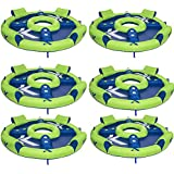 Kelsyus Big Nauti 4-Person Inflatable Pool Float Tube Raft, Green & Blue | 80108 (6 Pack)