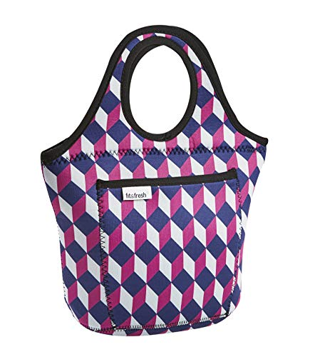 - Fit & Fresh Hawthorne Neoprene Lunch Bag for Adults and Kids, Lightweight, Washable, Zipper, Waterproof, Navy Geo Chess