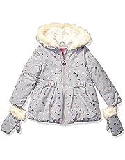 LONDON FOG Girls' Faux Fur Bottom and Hood Matte Shimmer Satin Jacket