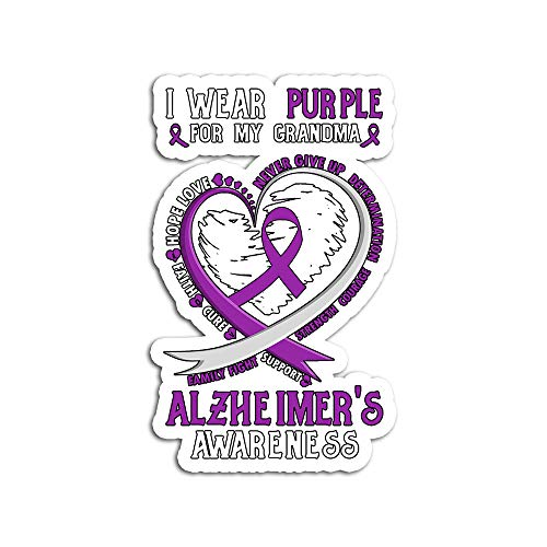 Hand Wooden Customizable Sticker Alzheimers Awareness I Wear Purple for My Grandma Stickers Personalize (3 pcs/Pack)