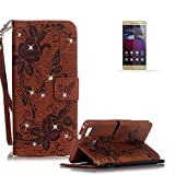 Huawei P9 Lite Stand Case with Free Screen Protector,Funyye Premium Leather Wallet Rope Cover Glitter Sparkle Butterfly Flowers Pattern Protective Case for Huawei P9 Lite - Brown
