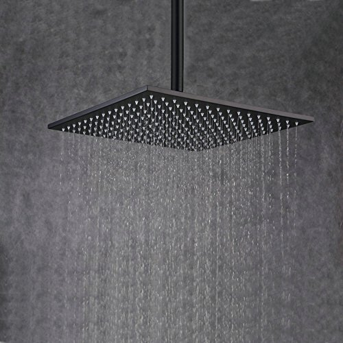 (Beelee 16 Inch Rainfall Square Bathroom Stainless Steel Shower Head Ceiling Mount, Oil Rubbed Bronze)