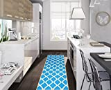 Kitchen Rugs Contemporary Ottomanson Glamour Collection Contemporary Moroccan Trellis Design Lattice Runner Rug with (Non-Slip) Kitchen and Bathroom Mat, Blue, 20
