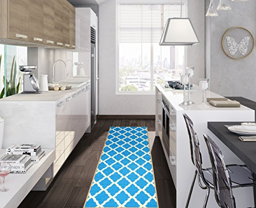 Ottomanson Glamour Collection Contemporary Moroccan Trellis Design Lattice Runner Rug (Non-Slip) Kitchen and Bathroom Mat Rug, 20