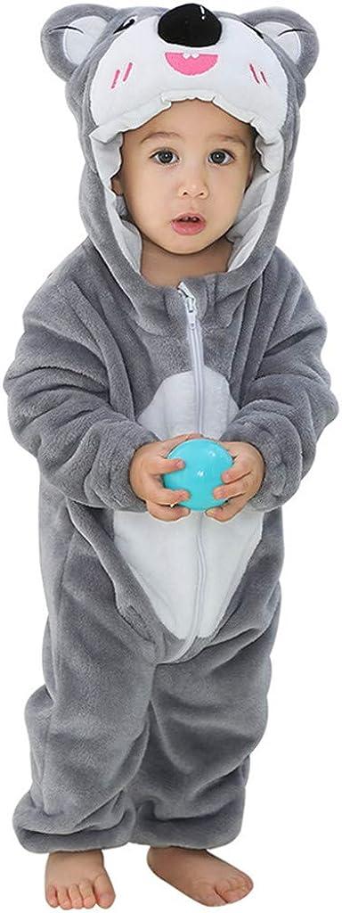bringbring Baby Rompers Newborn Girls Boys Animals Zipper Hooded Jumpsuit Onesies Warm Sweater Cartoon Outfits Long Sleeve Sleepsuit Autumn Winter Flannel Clothing Baby Halloween Costume