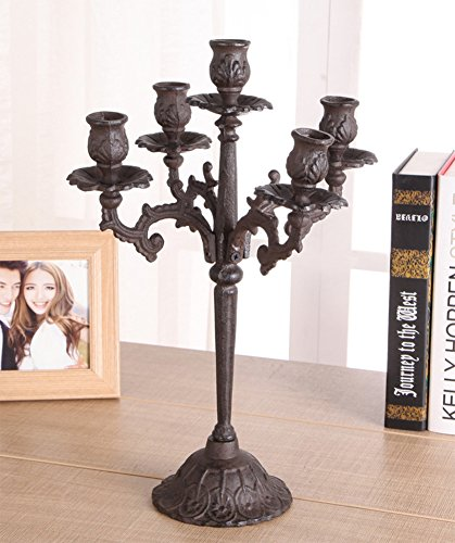 Qing Chen European Vintage Candle Holder cast Iron Carved Candle Holders Antique Candle Ornaments ()