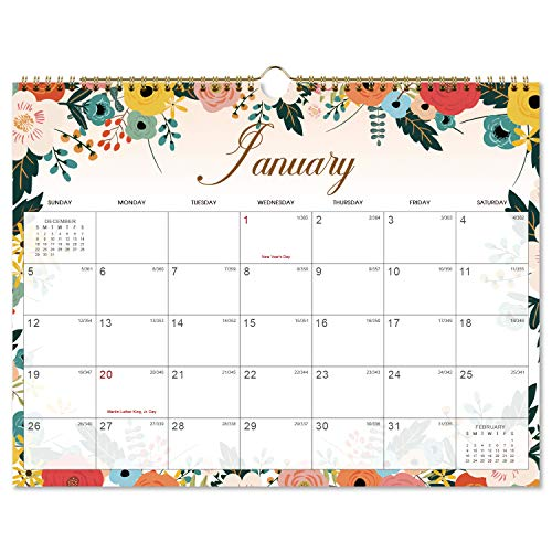 Calendar 2020 - Monthly Wall Calendar with Thick Paper, 15 x 11.5, Twin-Wire Binding + Hanging Hook + Unlined Blocks with Julian Dates - Mint Floral