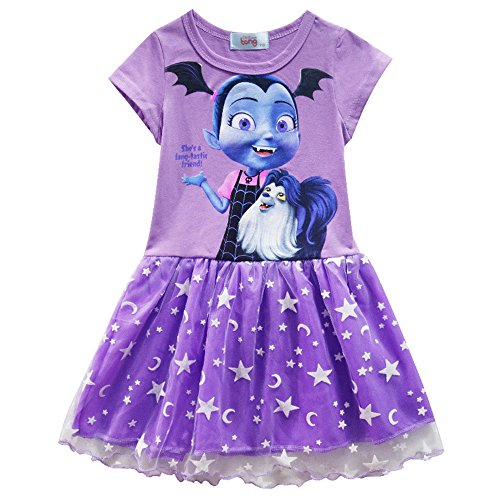 KINOMOTO Girls Short Sleeve T-Shirt Dress Cartoon Princess Party Cosplay Costume (Purple, 130CM/7-8 Years)