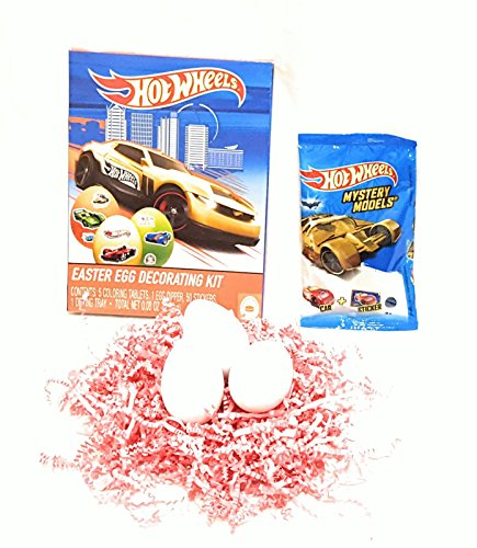 Hot Wheels Egg Decorating Kit, Hot Wheels Egg Coloring Kit, Hot Wheels Mystery Model Surprise Car & Sticker with Three Decorating Eggs - 5 count