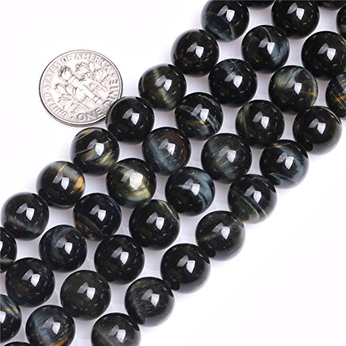 Blue Tiger Eye Beads for Jewelry Making Natural Gemstone Semi Precious 10mm Round 15