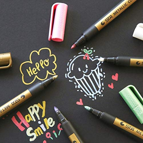 Metallic Marker Pens, Creazy 12 A2PC Metallic Markers Paints Pens Art Glass Paint Writing Markers DIY Card Making by Creazy (Image #8)