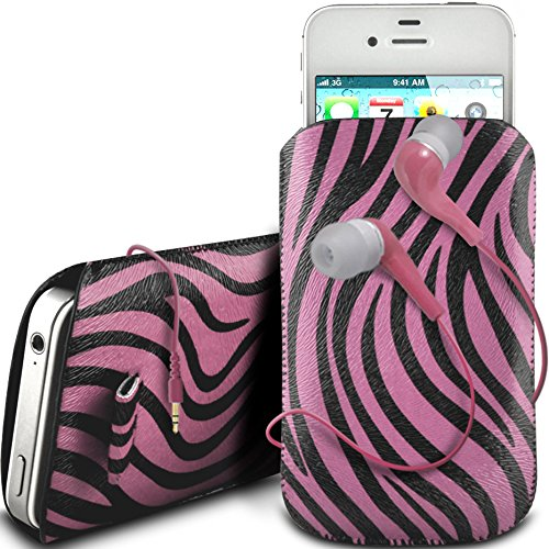 N4U Online - Apple Iphone 4 Protective cuir PU Zebra Conception Pull Tab cordon glisser Housse Etui avec Quick Release et 3.5mm Casque intra auriculaire - Rose
