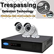 OWLTECH 4 Channel Trespassing Detection NVR support up to 5MP Resolution + 2 x 4MP 3.6mm IP Bullet Camera with Smart IR + WDR + POE + Mic Built in + 1TB HDD + 100ft cable and accessories