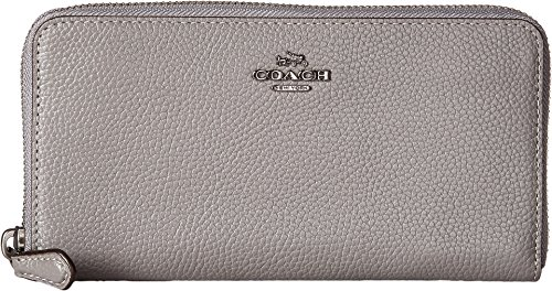COACH Women's Accordion Zip Wallet in Polished Pebble Leather Dk/Heather Grey One Size by Coach