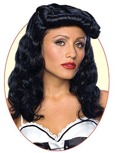 Cigar Girl Black Wig (Cigar Girl Pin Up Curly Black Wig)