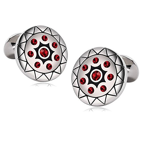 MoAndy Stainless Steel Mens Cuff Links Zirconia Engraved Flower Pattern Round - Mall Morrow