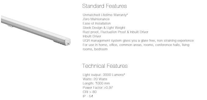 CORVI 20 Watt 3 ft (36 inch) 5700 K (White) LED Batten with Lifetime  Warranty (Pack of 2)