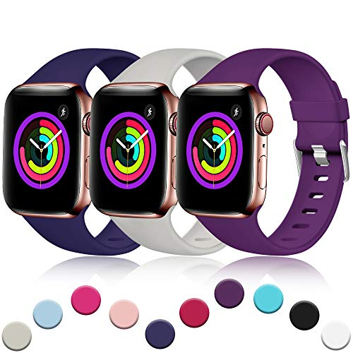 Wrist Tech Watch Band - Haveda Sport Band Compatible for Apple Watch 42mm 44mm, Soft Premium Bands for iWatch, Apple Watch Series 4, Series 3, Series 2, Series 1 Women Men, (3Pack) NavyPurplePebble 42mm/44mm M/L