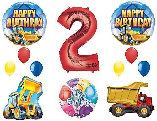 Dump Truck Birthday Party - The Ultimate Construction 2nd Birthday Party Supplies and Balloon Decorations