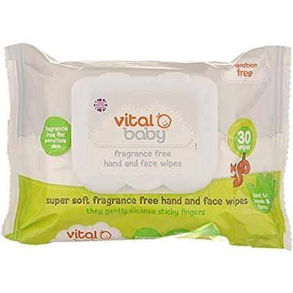 Vital Perfumes bebé libre de la mano y de la cara Toallitas 30 por paquete