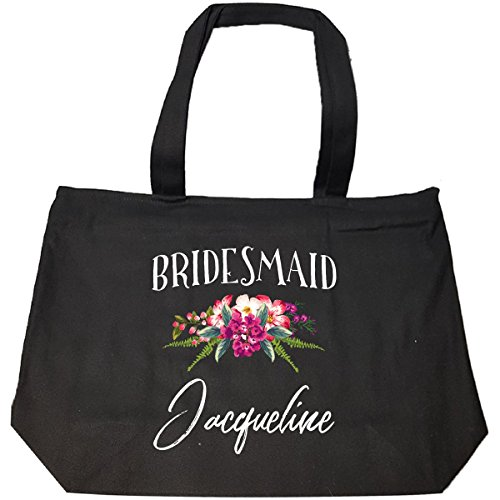 Bridesmaid Jacqueline Customized Name Bridal Party Gift - Tote Bag With Zip (Jacqueline Bridal Shop)