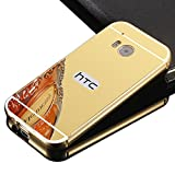 HTC One M9 case,Vandot Luxury Ultra Slim Thin Detachable Metal Aluminum Bumper Frame Bling Mirror Case Cover PC Hard Back Shell Anti-scratch shockproof Protective skin Pattern-Gold