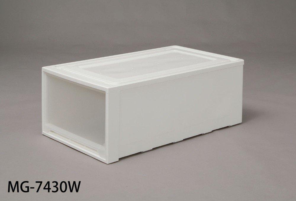 押入れチェスト たっぷり収納出来る、ワイドタイプ 人気の商品 ロングチェスト ホワイト/クリア 7430W 3点セット B00YO5FB2E