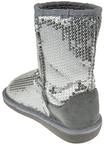 Pom-016KM Little Girls Sequin Slip On Shearling Boots