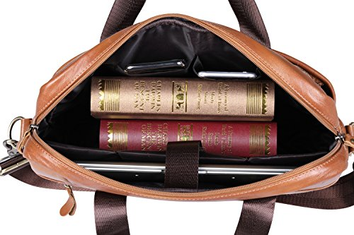 VIDNEG Handmade Briefcase Top Grain Leather Laptop Bag Messenger Shoulder Bag for Business Office 15 inch Macbook (CP-Light Brown) by VIDENG (Image #3)