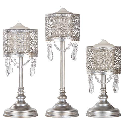 Amalfi Décor Victoria 3-Piece Antique Silver Hurricane Candle Holder Set with Crystals Metal Pillar Wedding Accent Stand by Amalfi Décor