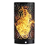 Magnetic LED Flame Effect Light Bulb, Rechargeable Vertical and Reverse Direction Flickering Fire Effect Atmosphere Decorative Light Lamp Great for Hotel/Bars/ Home Decoration/Restaurants (Black)