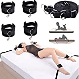 Dimlan Under Bed Restraint System Kit - Adjustable Straps Fit Almost Any Size Mattress - Bondageromance Kit with Ankle Cuffs HandCuffs Soft Comfortable for Couples Adventure Handcuffs SM Sex Play 100-