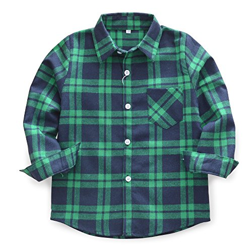 Baby's Boys' Girls' Long Sleeve Button Down Plaid Flannel Fashionable Shirt G015 Navy Green Tag 150CM - 7-8 Years
