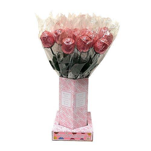 Valentine Gift Pink Foiled Belgian Milk Chocolate Color Splash Long Stem Rose Bouquet - Pack of 20
