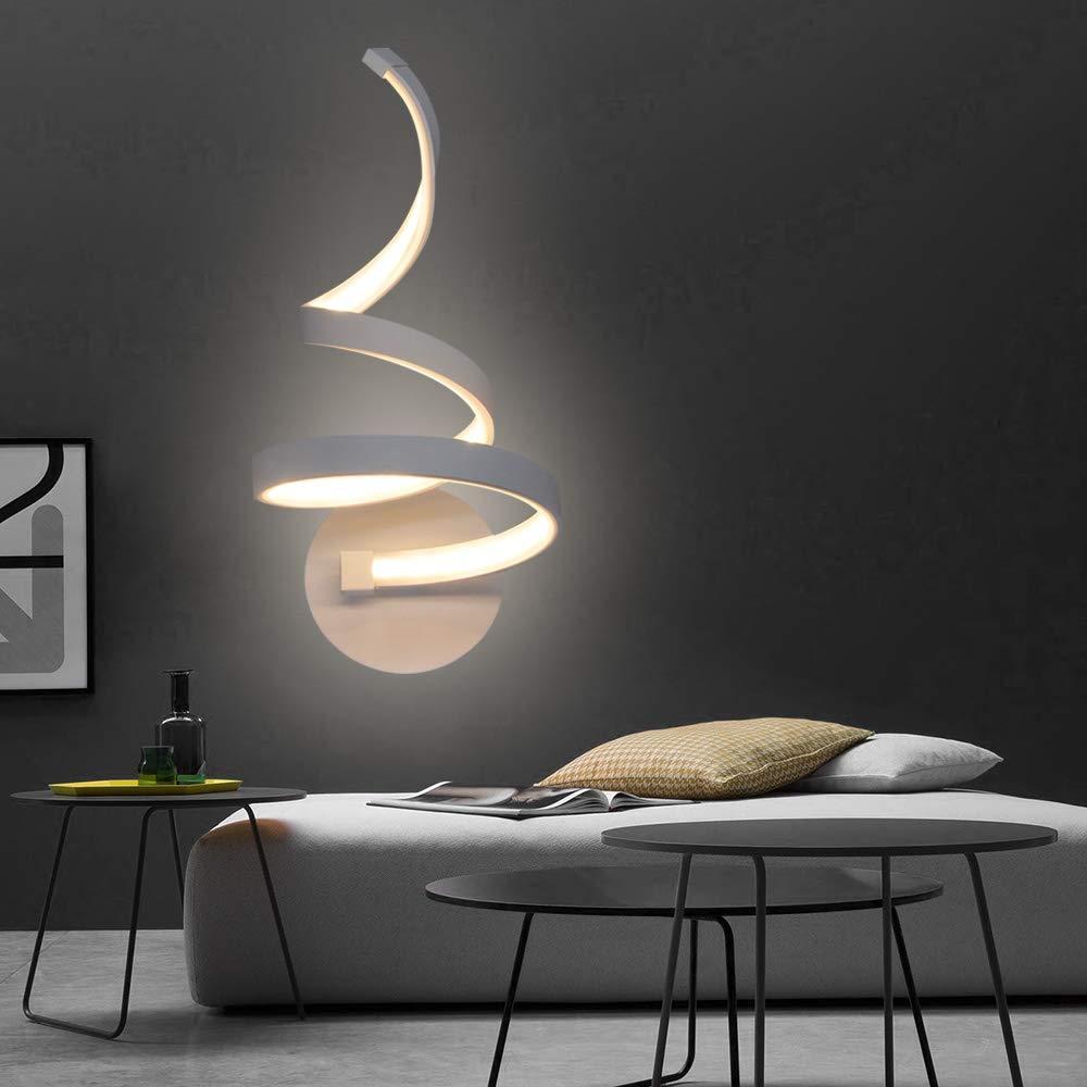 Artpad Modern Nordic Metal 20w L/ámpara de pared Led de interior Dormitorio pintado blanco Escalera de noche Hotel L/ámpara de luz blanca c/álida L/ámpara de pared montada en la pared