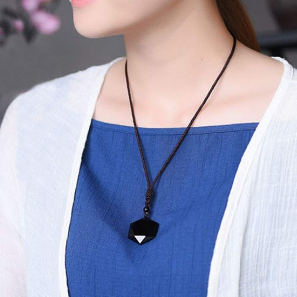 Faux Obsidian Hexagram Women Sweater Chain Long Necklace Pendant Clothing Accessories Butterfly Iron Necklace