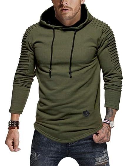 9304ec303 Nicetage Men's Tops Casual Pullover Hoodie Pleated Raglan Long ...