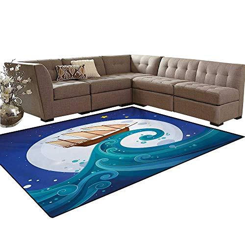 Marine Star Mop (Moon Room Home Bedroom Carpet Floor Mat Old Ship with Tempest Riding The Waves Full Moon and Stars Marine Cartoon Style Door Mats Area Rug 6'6