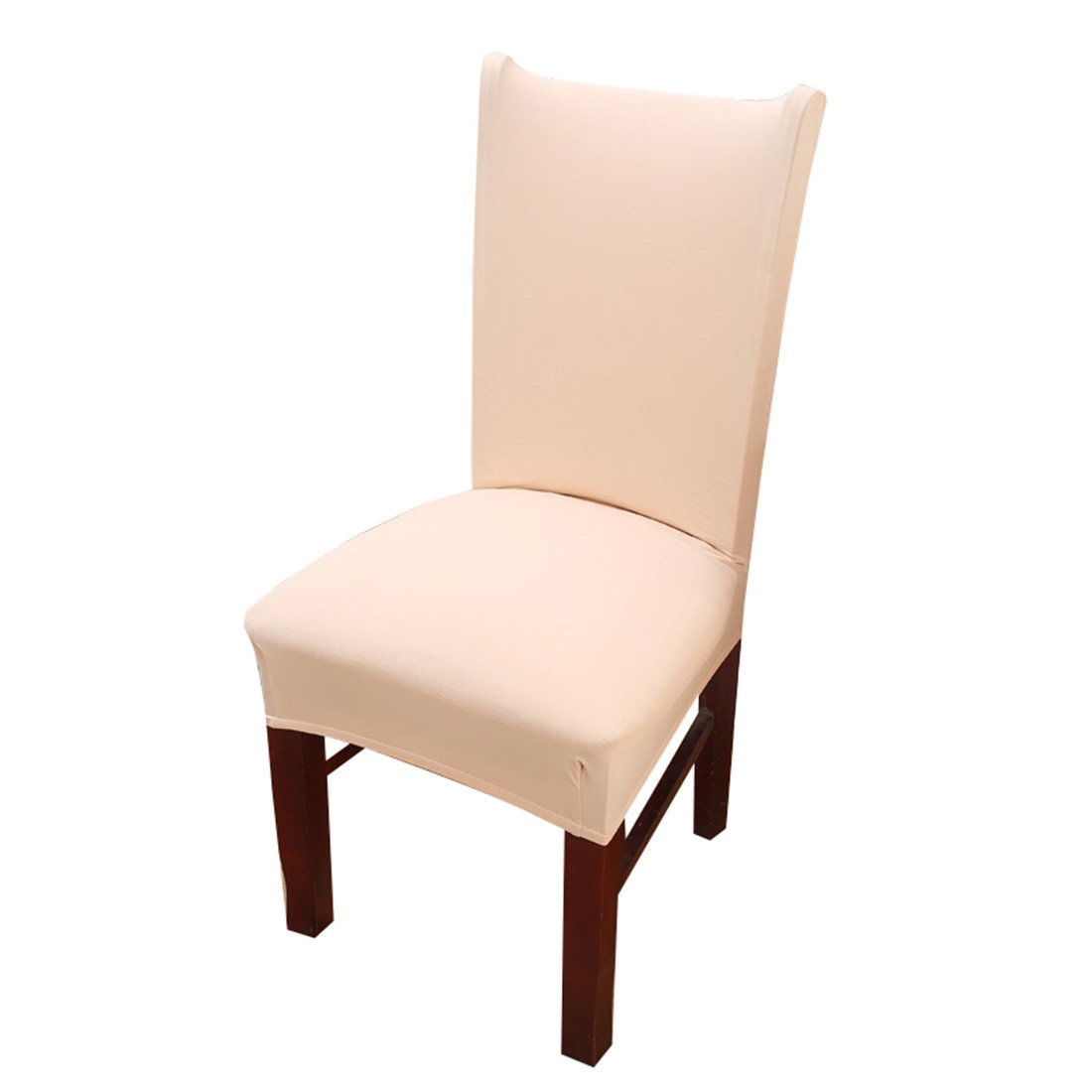 Deisy Dee Stretch Solid Color Chair Covers Removable Washable for Hotel Dining Room Ceremony Chair Slipcovers Pack of 6 C093 (Beige) by Deisy Dee (Image #2)