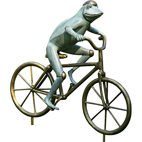 SPI Home Bronze Finish Frog on Bicycle Metal Garden Statue Frog Bronze Garden Statue
