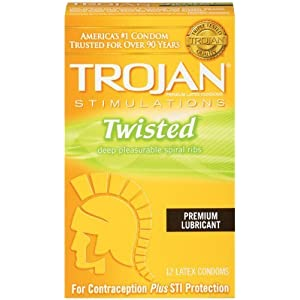 Trojan Stimulations Twisted Deep Pleasurable Spiral Ribs, 12 Condoms (Pack of 2)