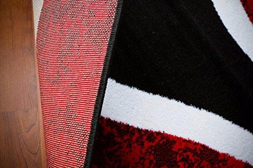 0327 Red Black Swirl White Area Rug Carpet 5x7 Modern