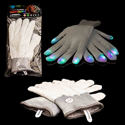 2 Pieces – LED Rave Gloves – Flashing Light Up Gloves with Finger Lights – White